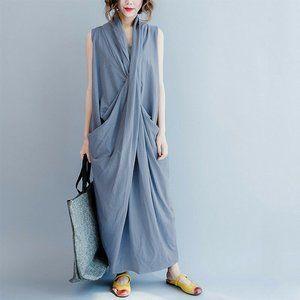 1XL -3X BLUE RUCHED Cross Vneck  DRESS